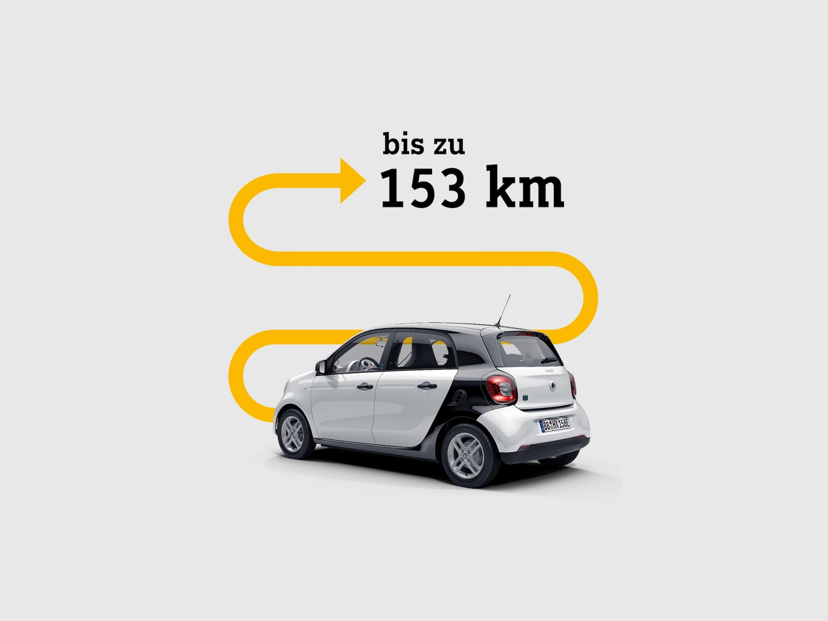 smart EQ forfour über dem ein Pfeil auf die 153 km Reichweite anspielt.