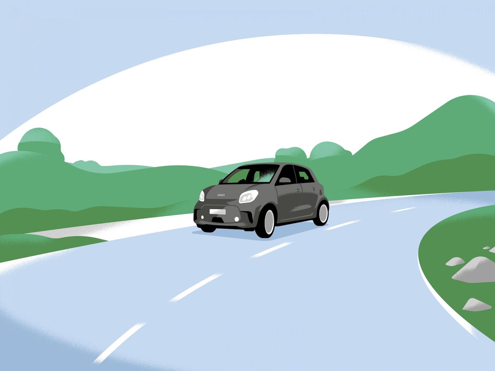 Ein smart EQ forfour auf einer Landstrasse.