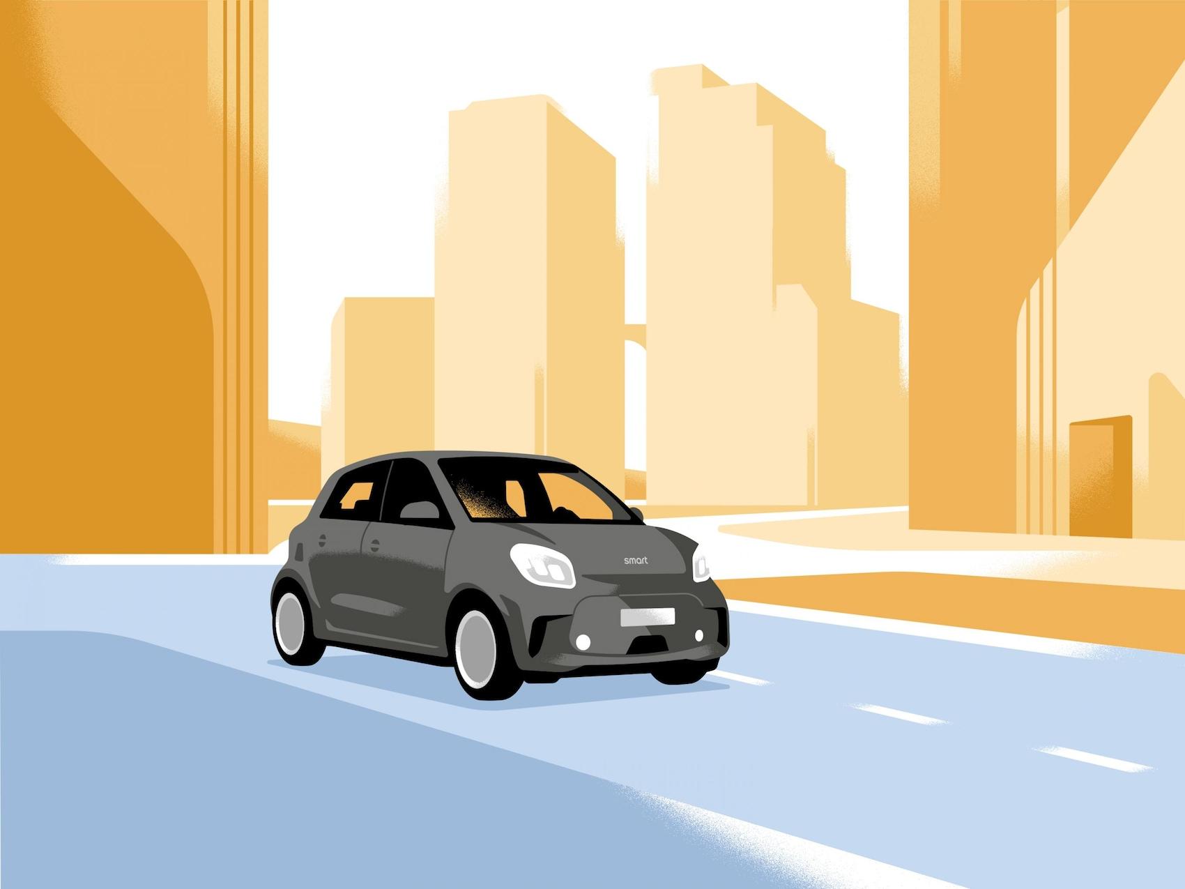 Ein smart EQ forfour fährt aus einer Stadt heraus.