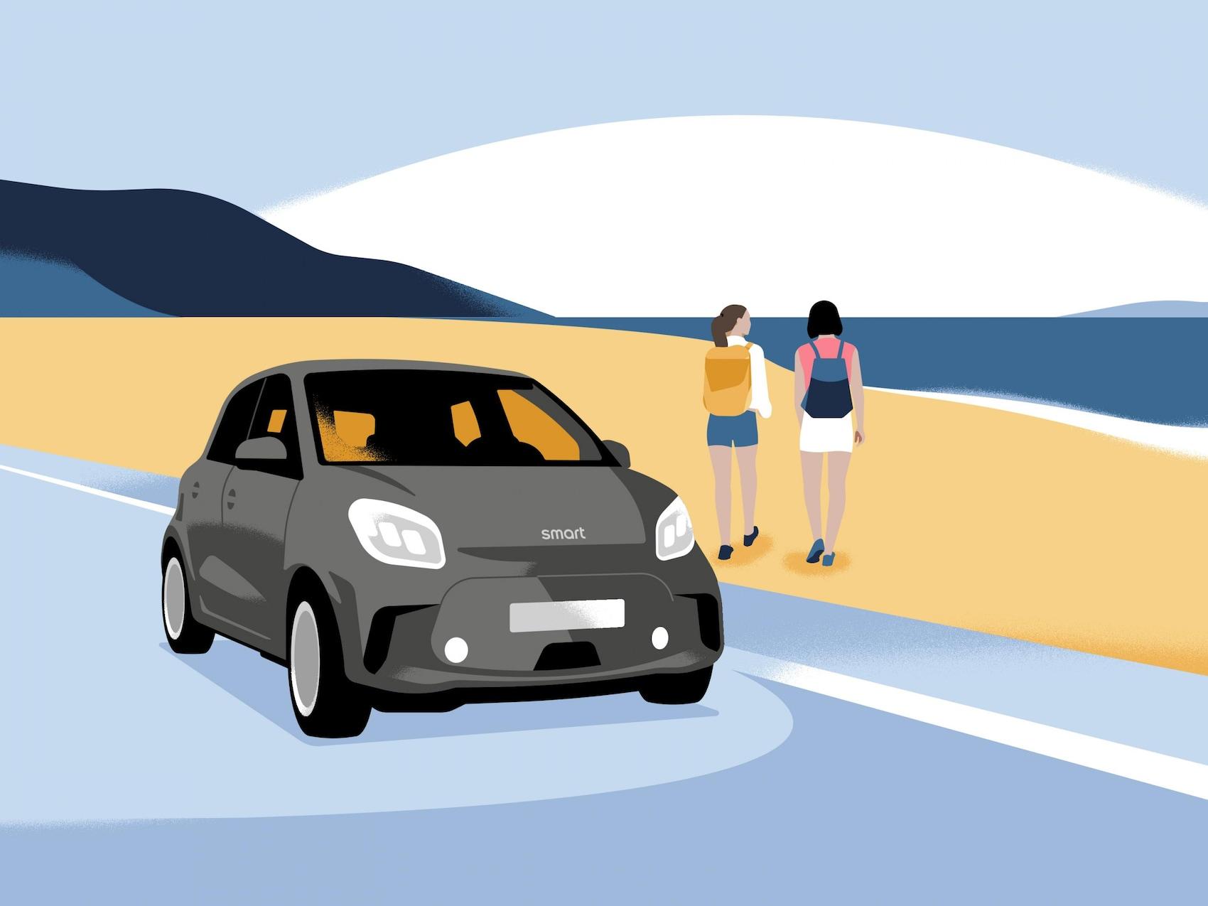 Zwei Personen laufen in die Natur. Davor ein geparkter smart.