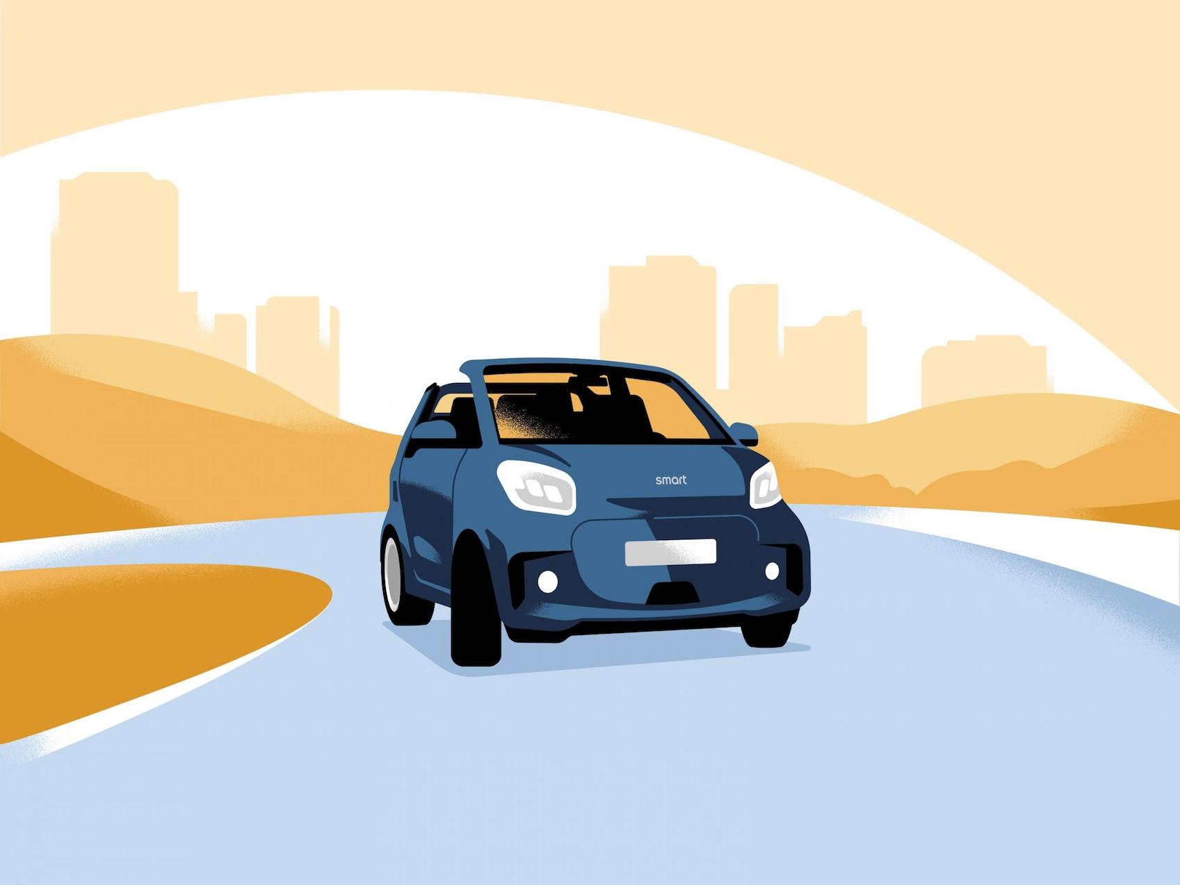 Vozilo smart EQ fortwo vozi po cesti.
