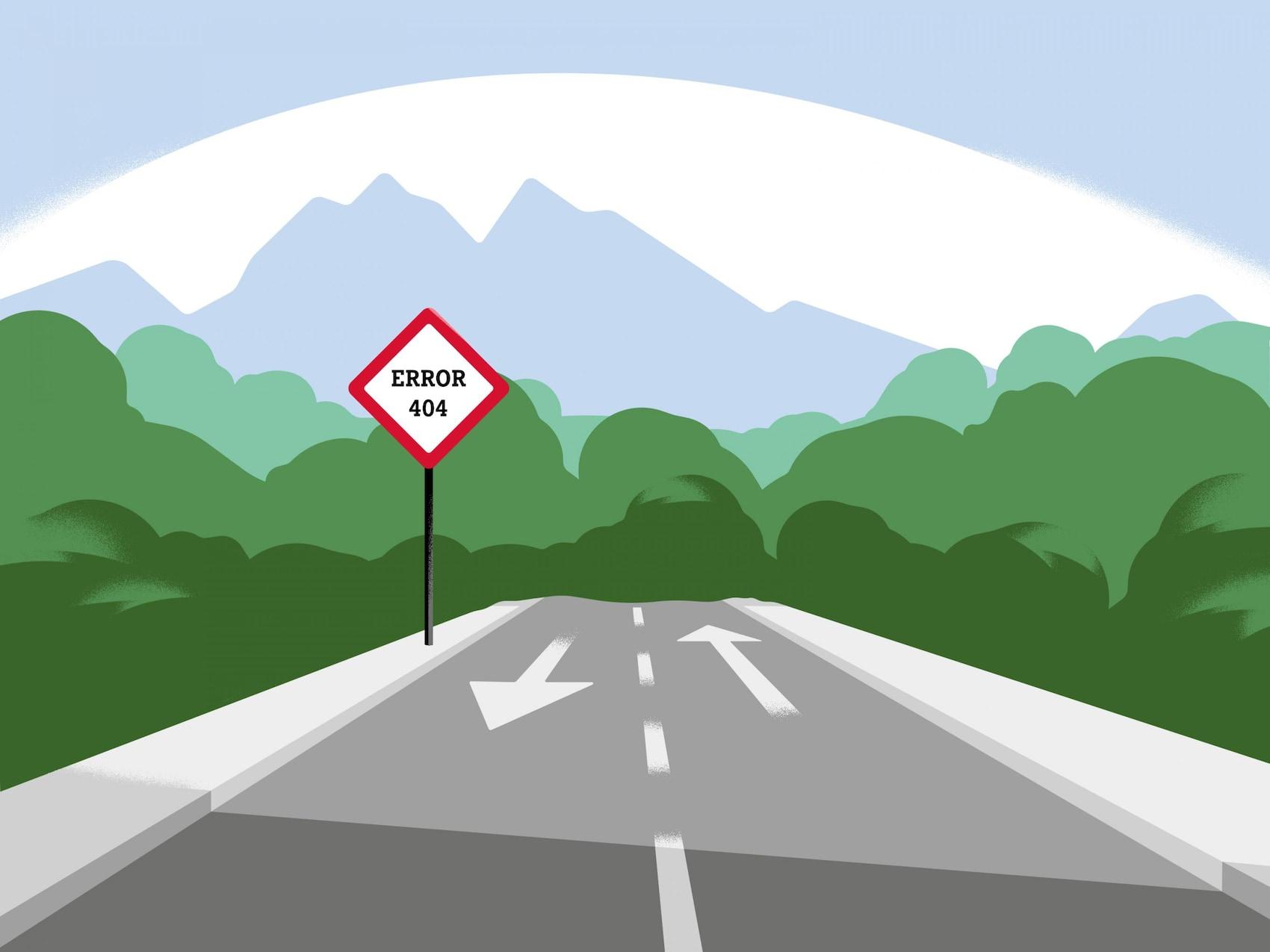 Eine Landstraße mit einem Verkehrszeichen, auf dem 404 dargestellt wird.