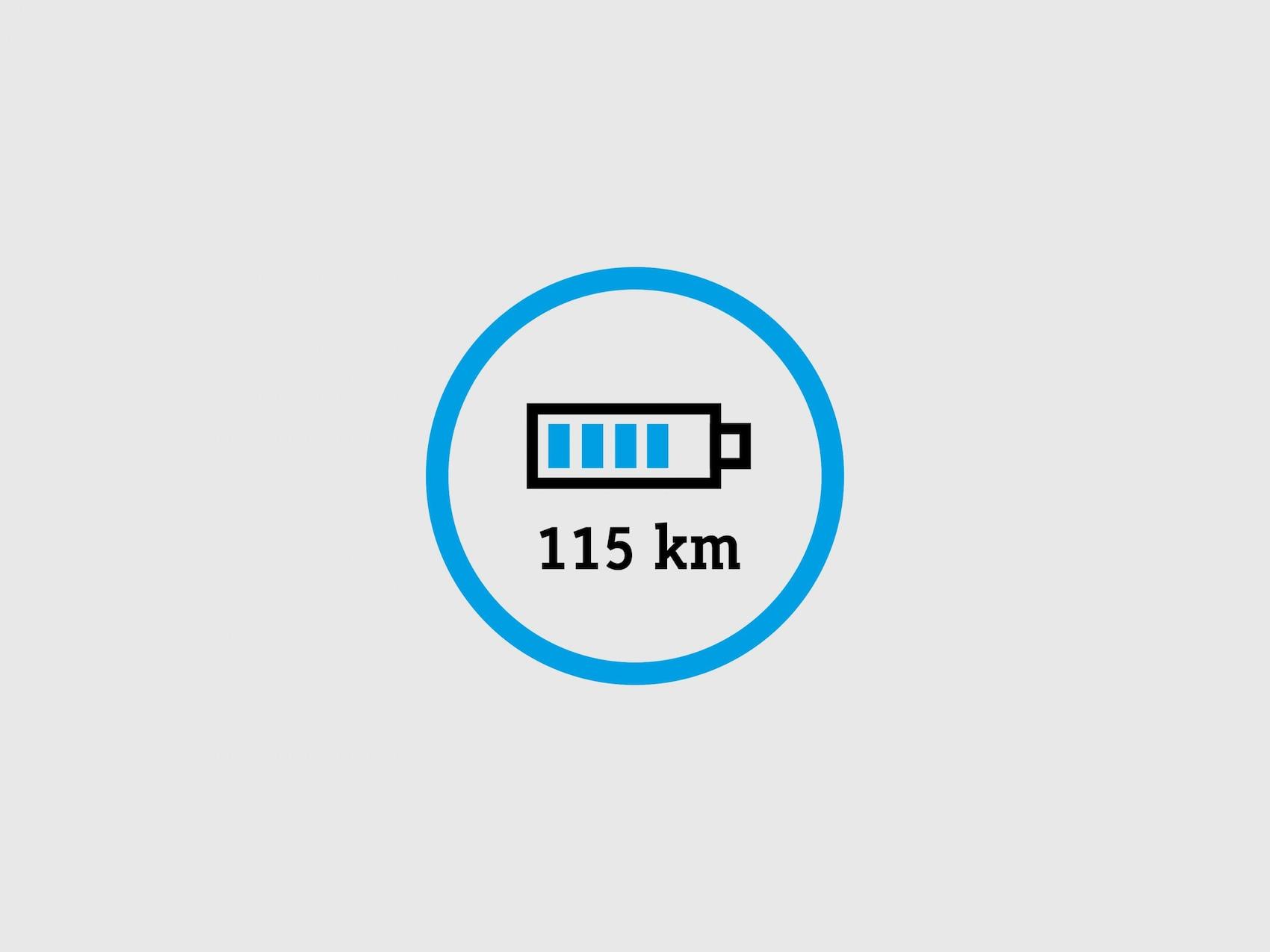 Cercle bleu dans lequel est représenté un écran de téléphone portable indiquant le niveau de charge d'une batterie.