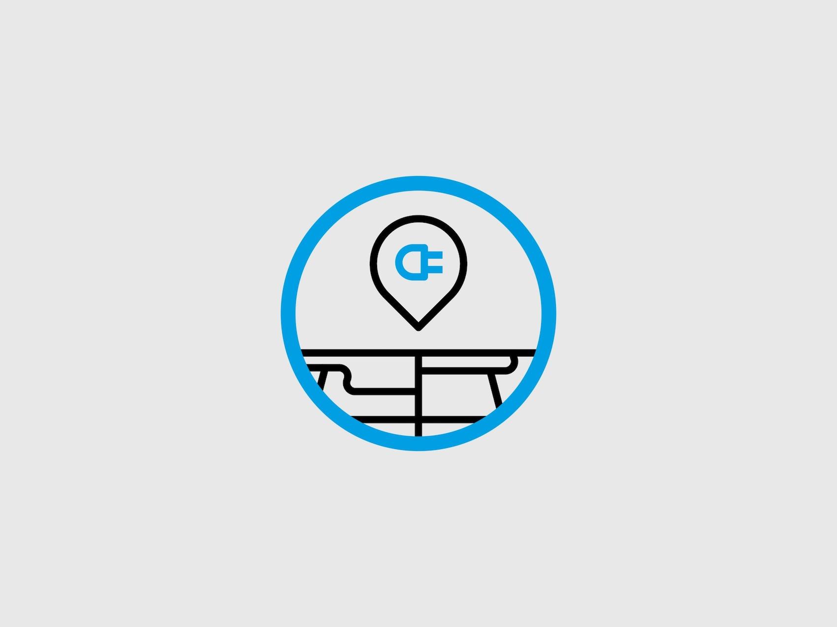 Niebieskie kółko, w którym odwzorowane jest logo Plugsurfing.