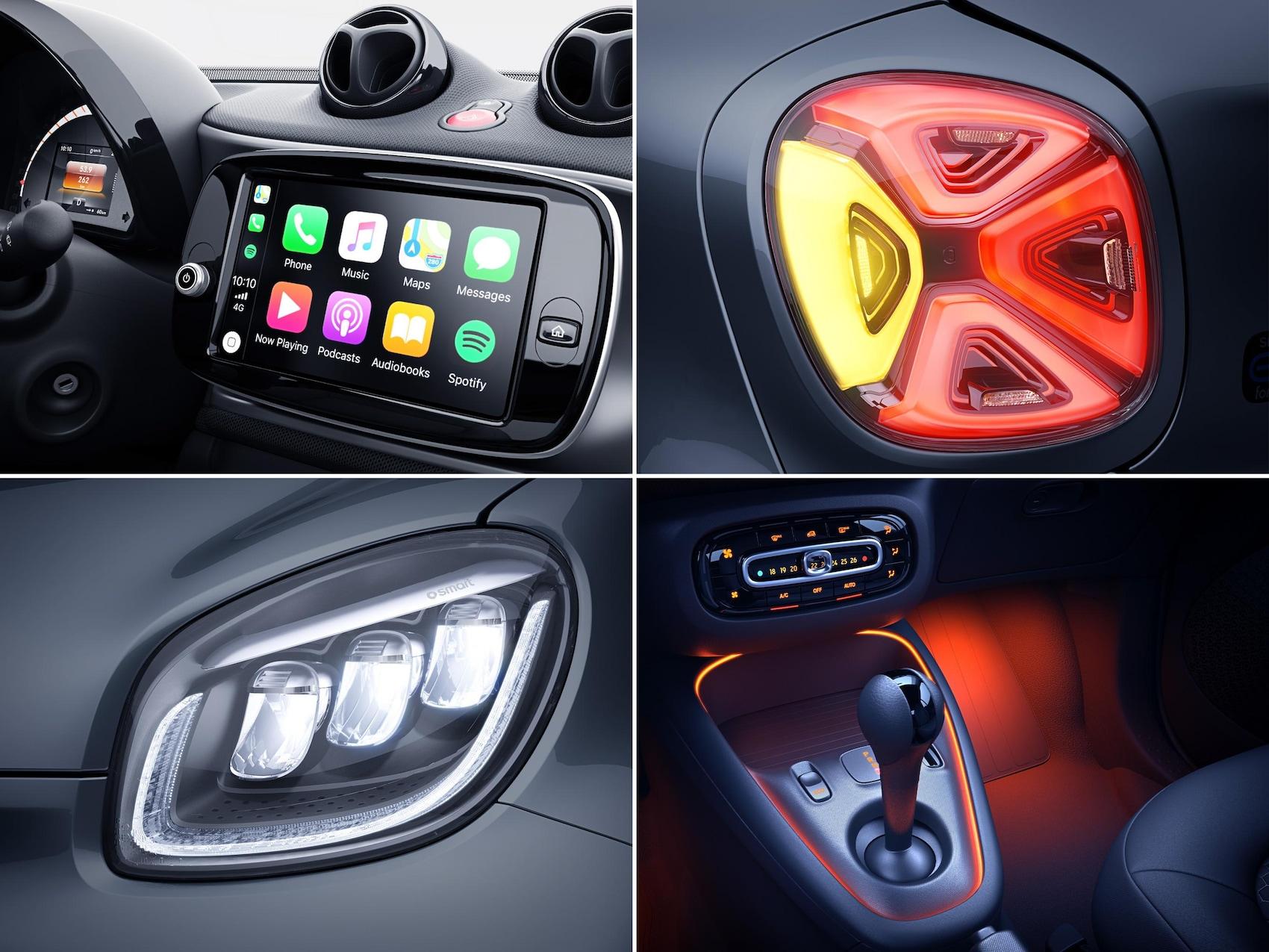 Das Close-Up des Lenkards aus der Fahrersicht im smart EQ forfour.