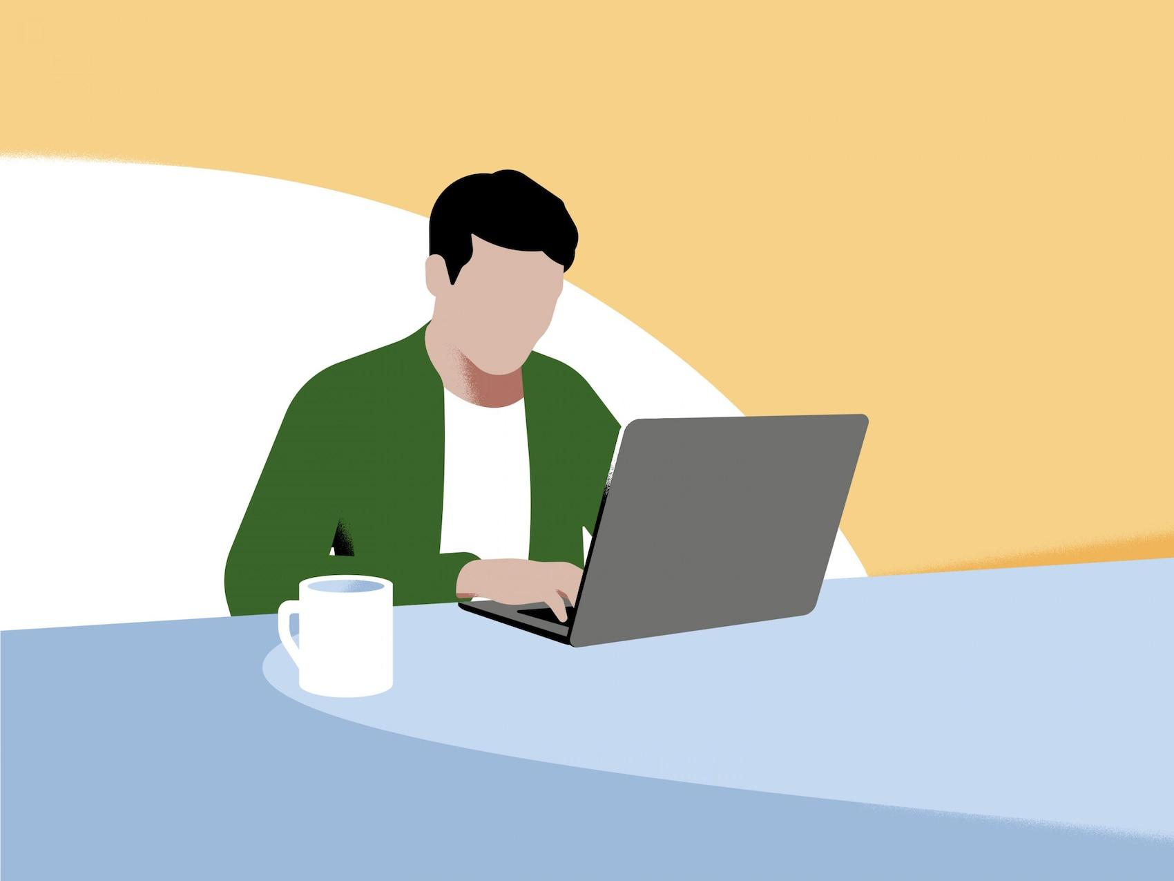 Man zit achter computer