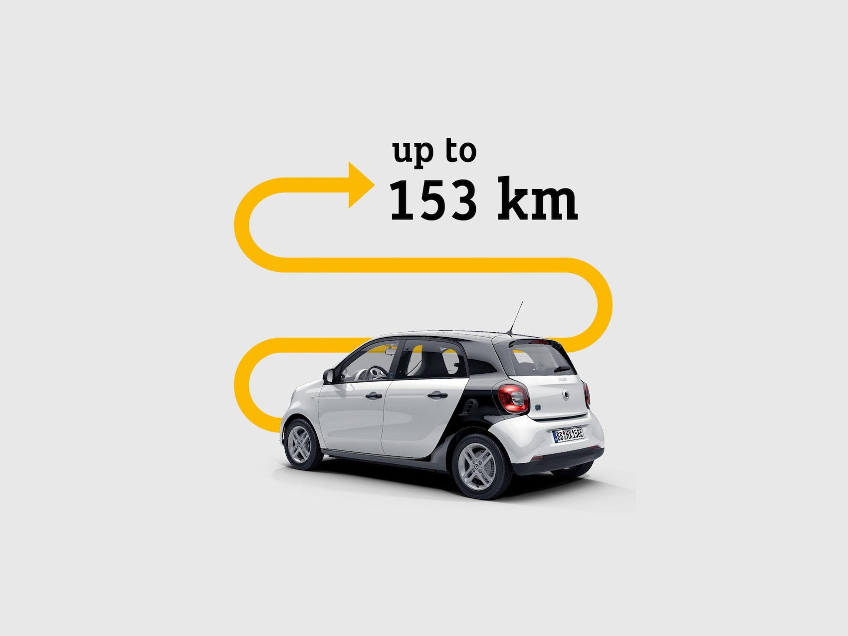 Vozidlo smart EQ forfour, nad ktorým šípka poukazuje na dojazd 153km.