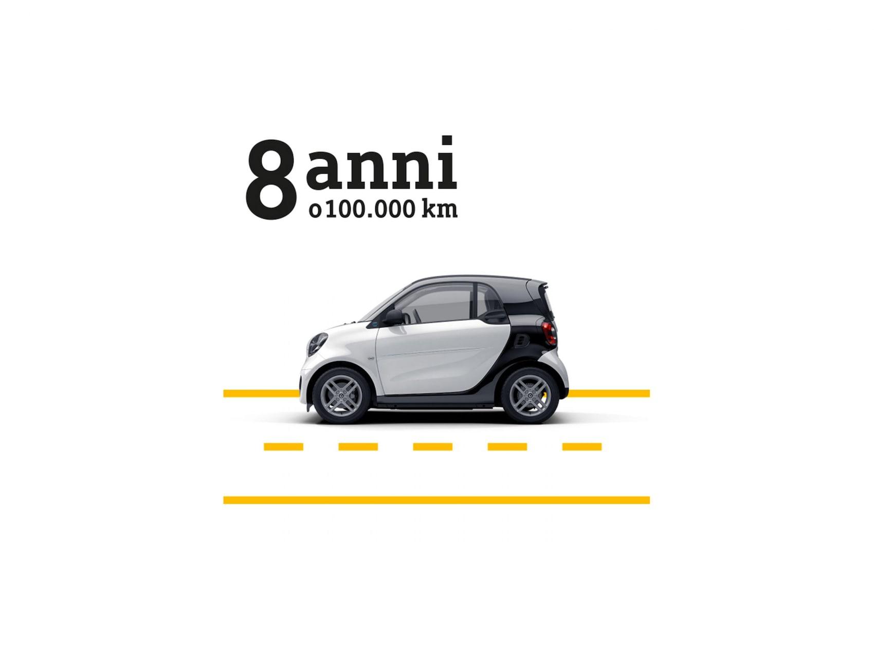 """smart EQ fortwo su un abbozzo di strada mostra la promessa """"8 years or 100km""""."""