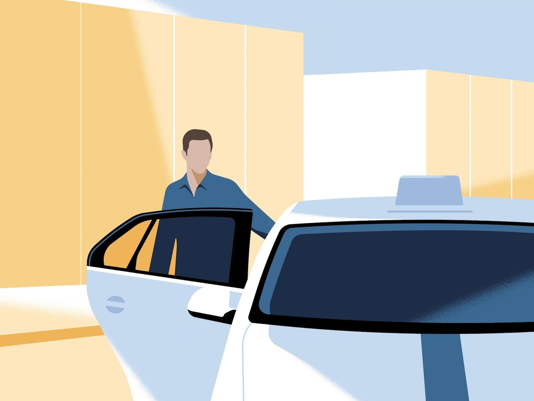 Mann steigt ins Taxi