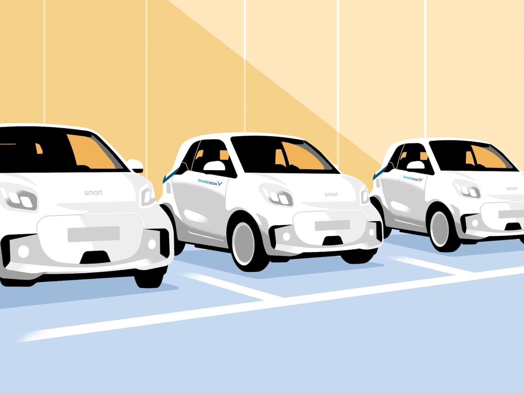 Drei smart EQ fortwo in einer Reihe