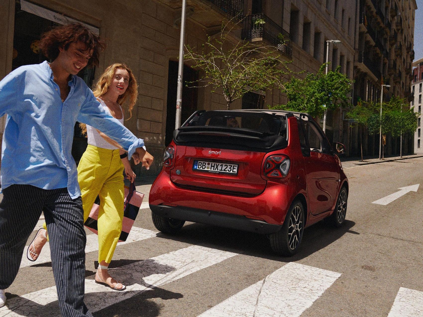 smart EQ fortwo cabrio on the road