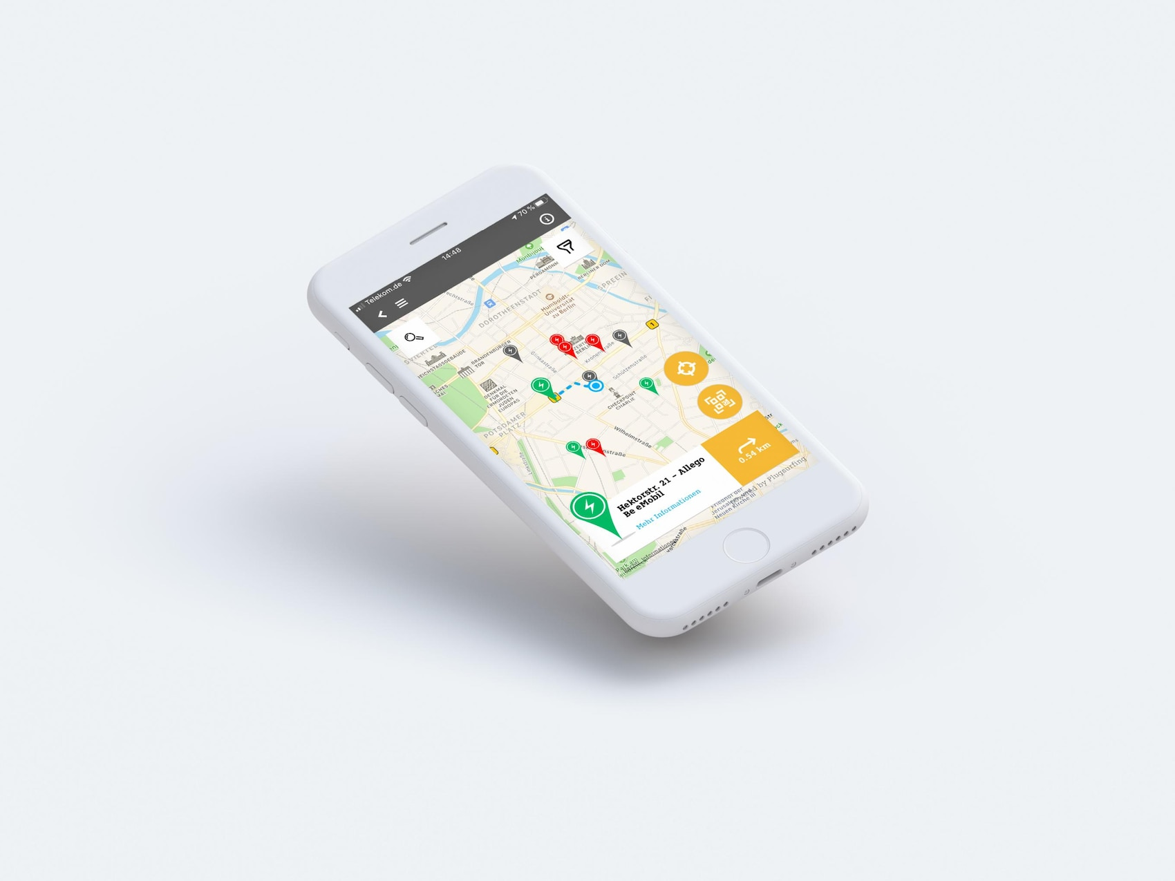 Trova stazione di ricarica app smart EQ control.