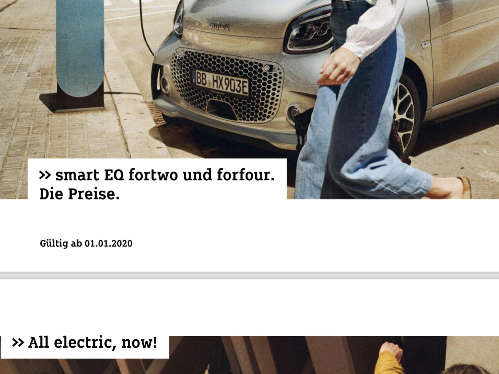 Preisliste: smart EQ fortwo und forfour