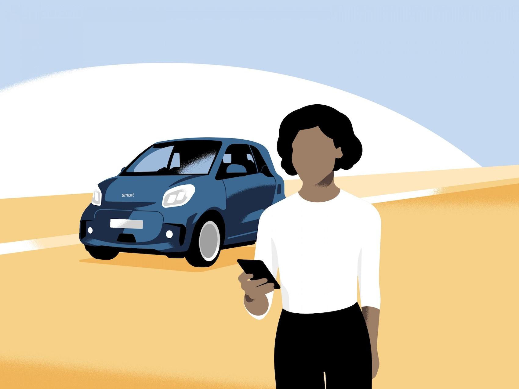 Femme avec téléphone portable dans la main devant une smart